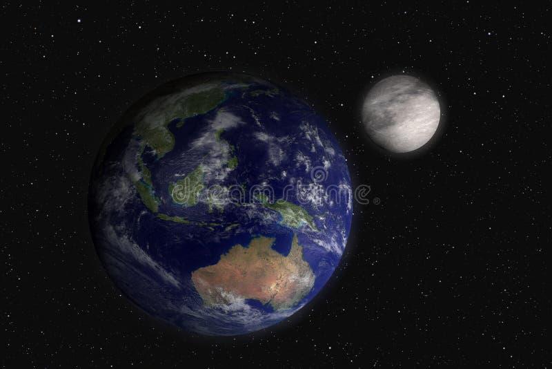 Terra e lua ilustração do vetor
