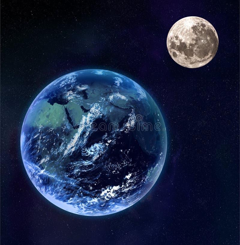 Terra e lua como visto do espaço ilustração do vetor