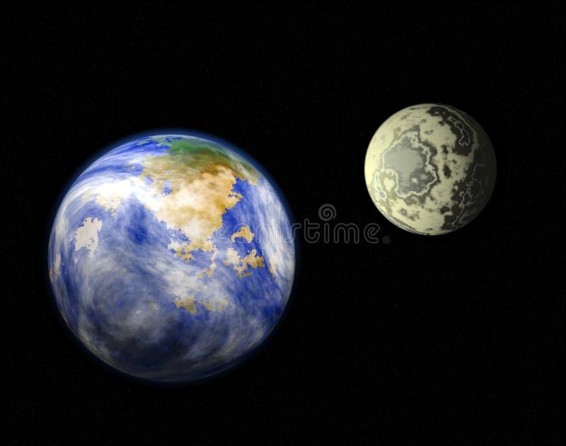 Terra e lua do planeta ilustração stock
