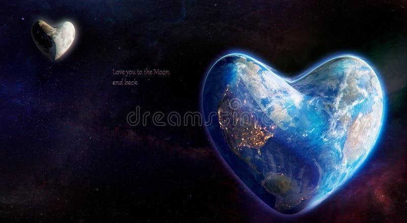 Terra e lua na forma do coração ilustração stock