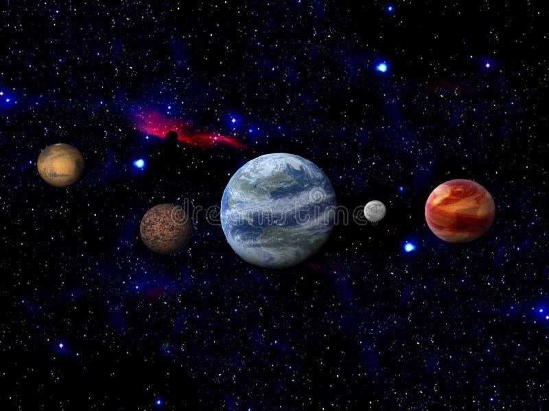Terra e lua no espaço ilustração royalty free