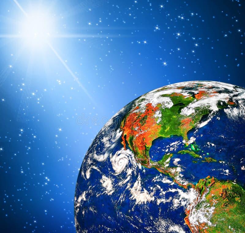 Terra e luz do planeta ilustração do vetor