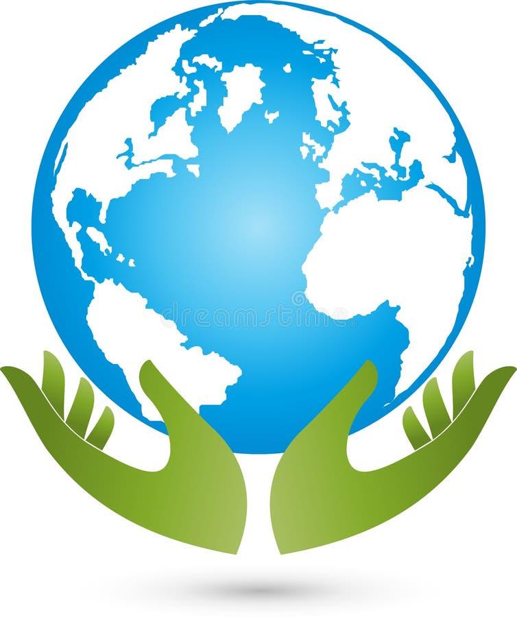 Terra e mãos, globo colorido, terra e logotipo da economia ilustração do vetor