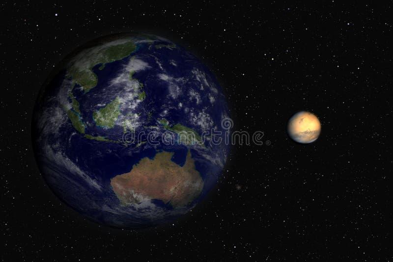 Terra e Marte ilustração stock