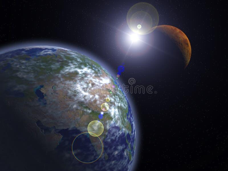 A terra e o Marte ilustração do vetor