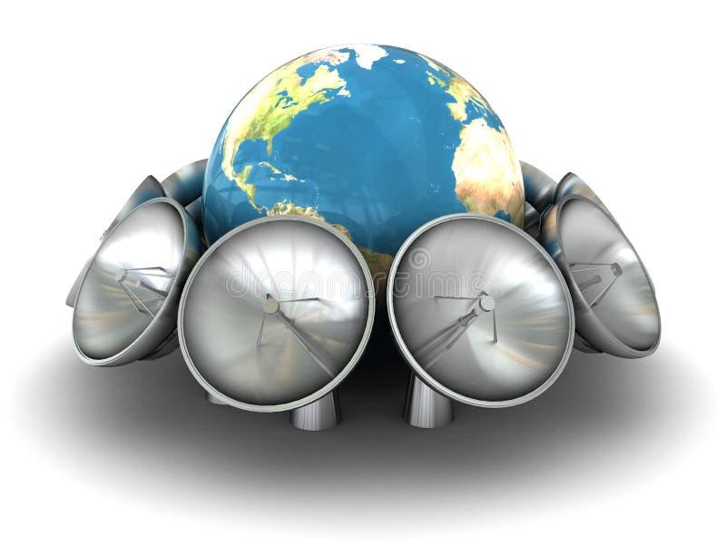 Terra e radio-antenne royalty illustrazione gratis