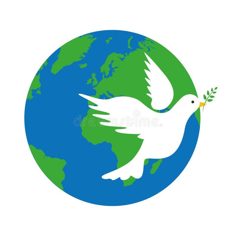 Terra e símbolo de paz branco da pomba ilustração do vetor
