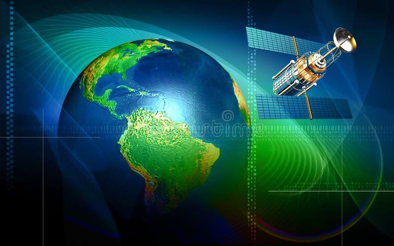 Terra e satélite ilustração royalty free