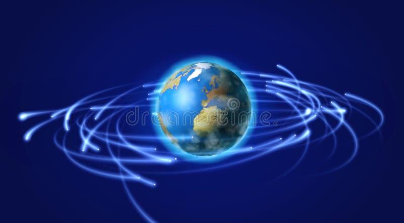 Terra e satélites no espaço ilustração stock