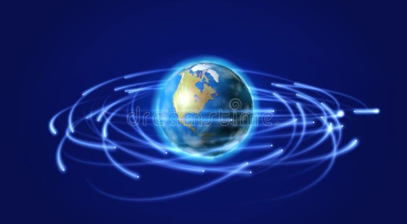 Terra e satélites no espaço ilustração royalty free