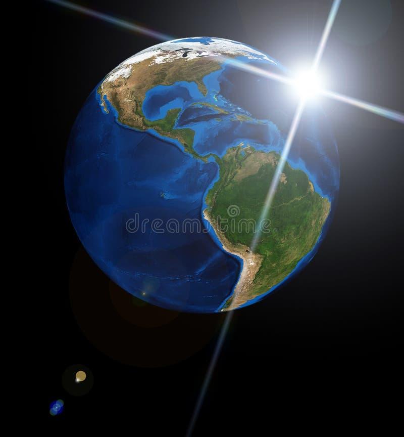 Terra e sol ilustração stock