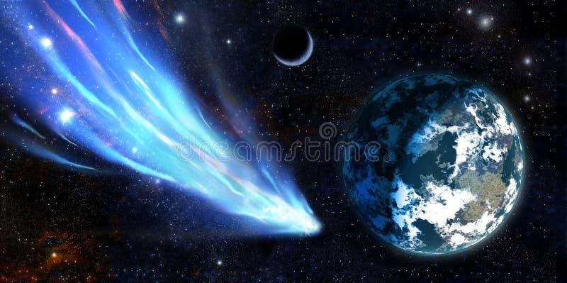 Terra e um cometa ilustração royalty free