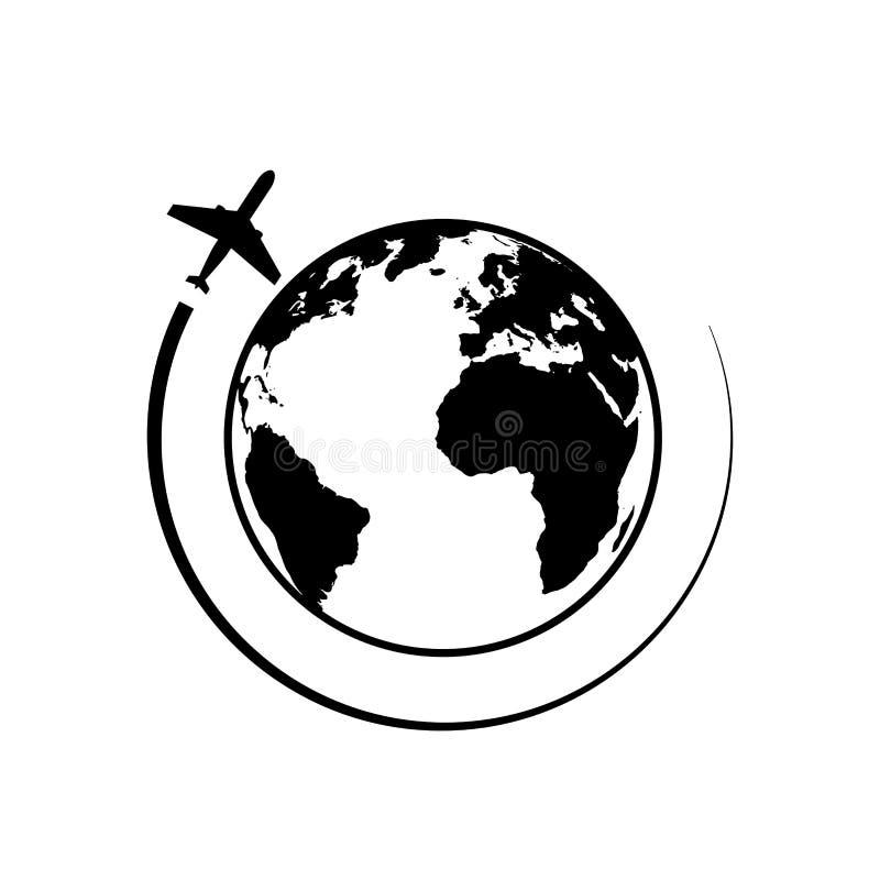 Terra ed aereo Viaggio intorno all'immagine del mondo Globo ed icona piana Linea icona di viaggio æreo Aereo, viaggio, trasporto illustrazione vettoriale