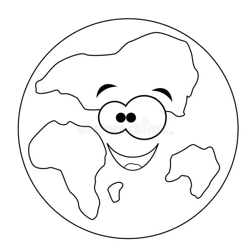 Terra engraçada incolor dos desenhos animados Ilustração do vetor Coloração pag ilustração do vetor