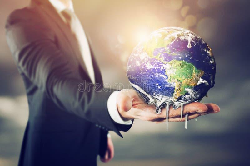A terra está derretendo Pare o aquecimento global imagem de stock