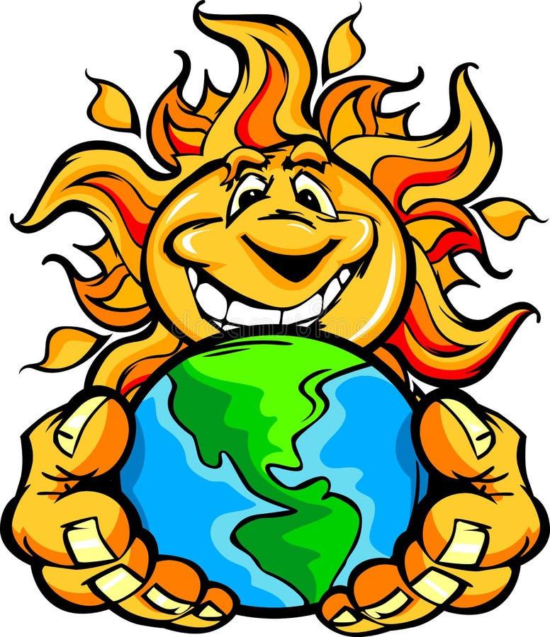 Terra felice a energia solare della holding del fumetto di Sun royalty illustrazione gratis