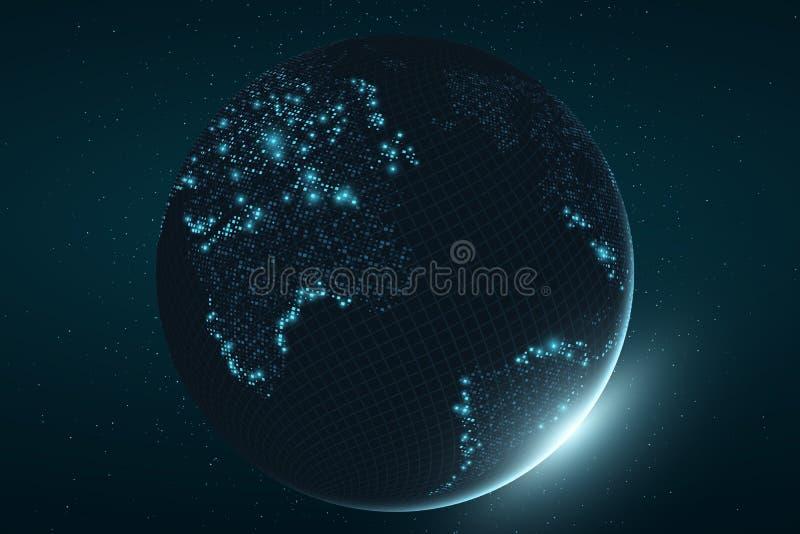 Terra futurista do planeta Mapa de incandescência de pontos quadrados abstraia o fundo Composição do espaço Fulgor azul Alta tecn fotografia de stock royalty free
