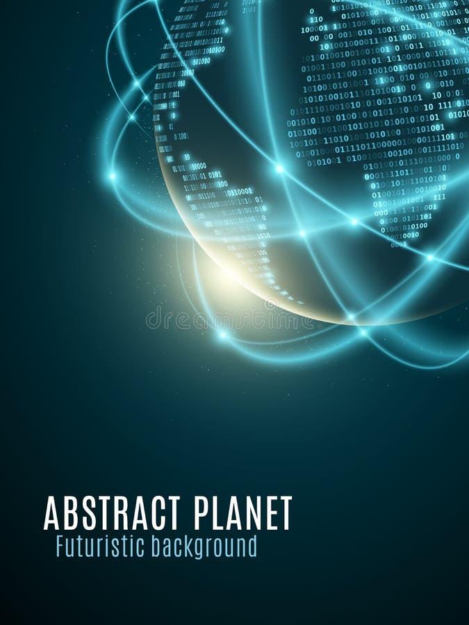 Terra futurista do planeta Mapa do mundo do código binário Incandescendo, linhas de néon obscuras abstraia o fundo Código da prog ilustração do vetor