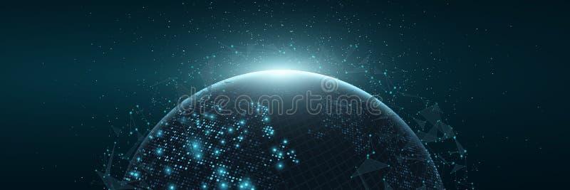 Terra futurista do planeta Mapa do mundo de pontos quadrados de incandescência Fundo abstrato moderno Composição do espaço Bandei ilustração stock