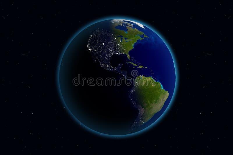 Terra - giorno & notte - l'America illustrazione di stock