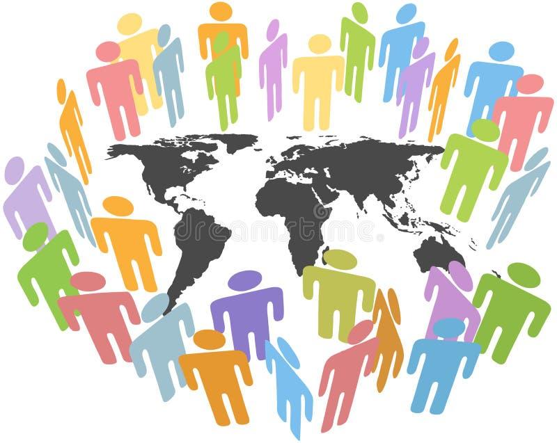 A terra global da população humana emite o mapa dos povos ilustração stock