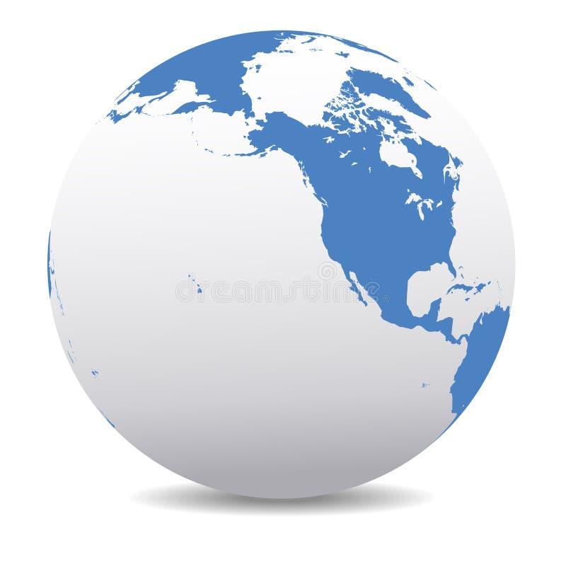 Terra globale del mondo di Nord America, del Canada, della Siberia e delle Hawai royalty illustrazione gratis