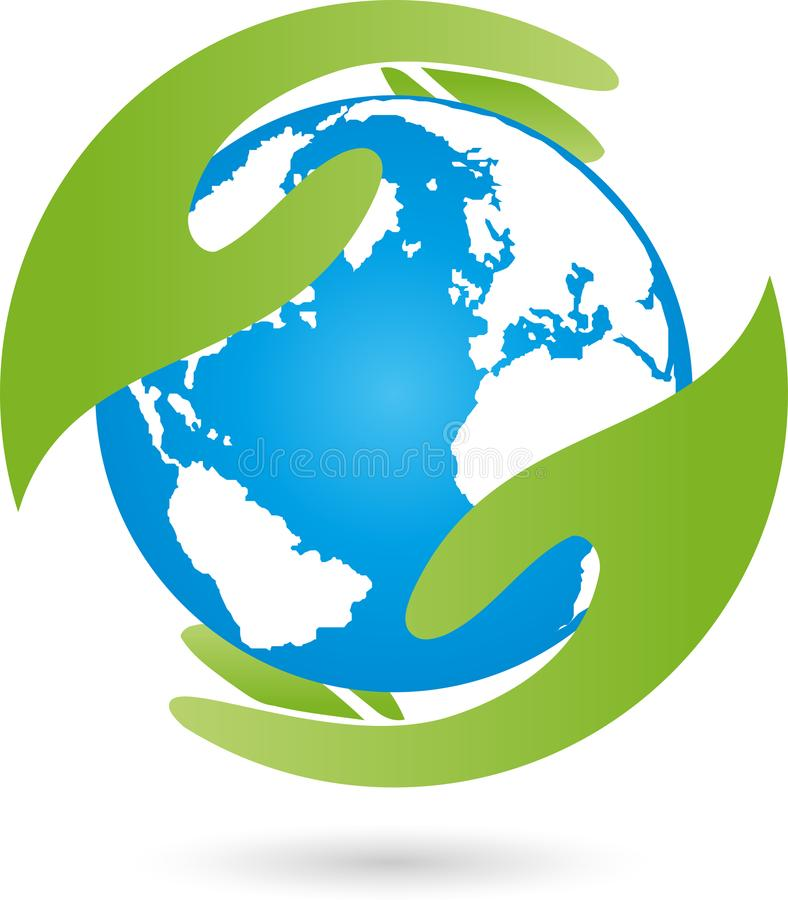 Terra, globo, globo del mondo e mano, logo della terra illustrazione di stock