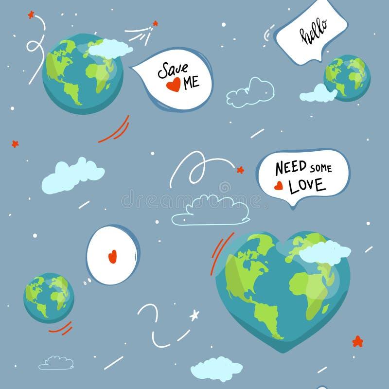 Terra globo dos desenhos animados da bolha do discurso os ícones da Web esverdeiam o caráter feliz da natureza mapa do mundo do p ilustração stock