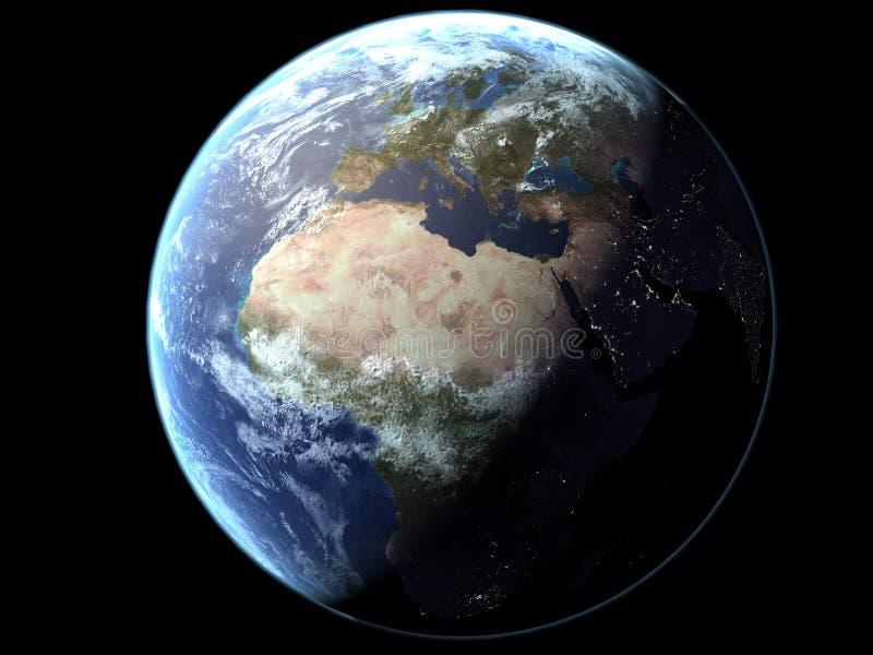 Terra - iluminada Semi ilustração royalty free