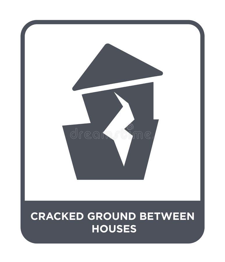 terra incrinata fra l'icona delle case nello stile d'avanguardia di progettazione terra incrinata fra l'icona delle case isolata  illustrazione di stock
