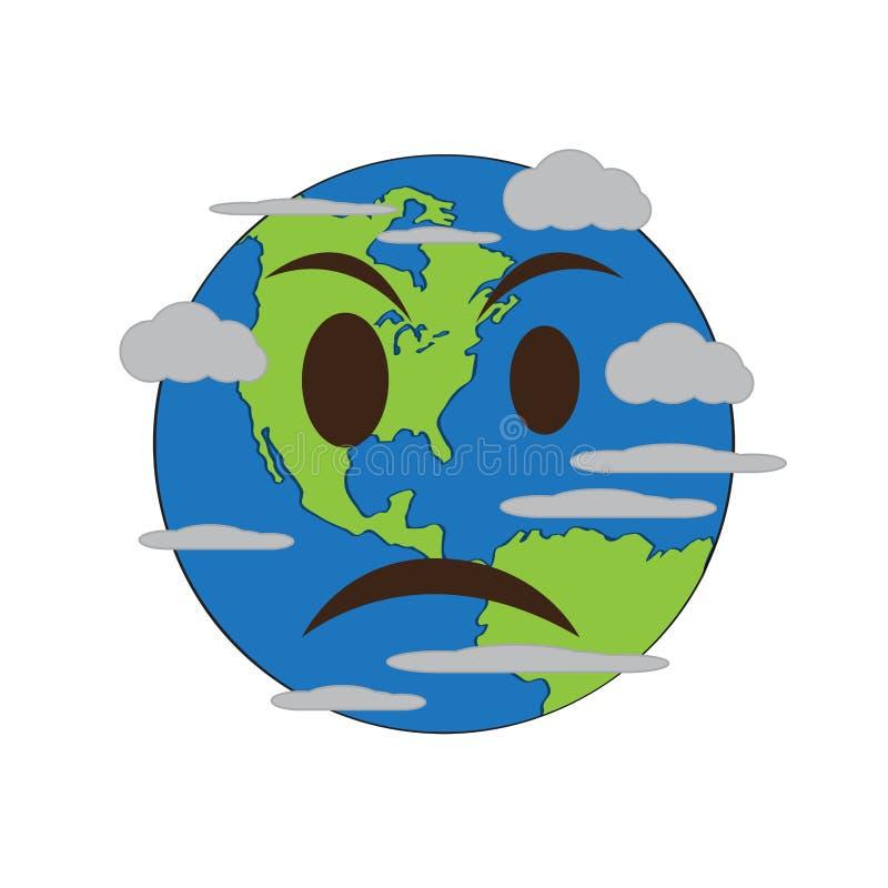 A terra irritada emote ilustração do vetor