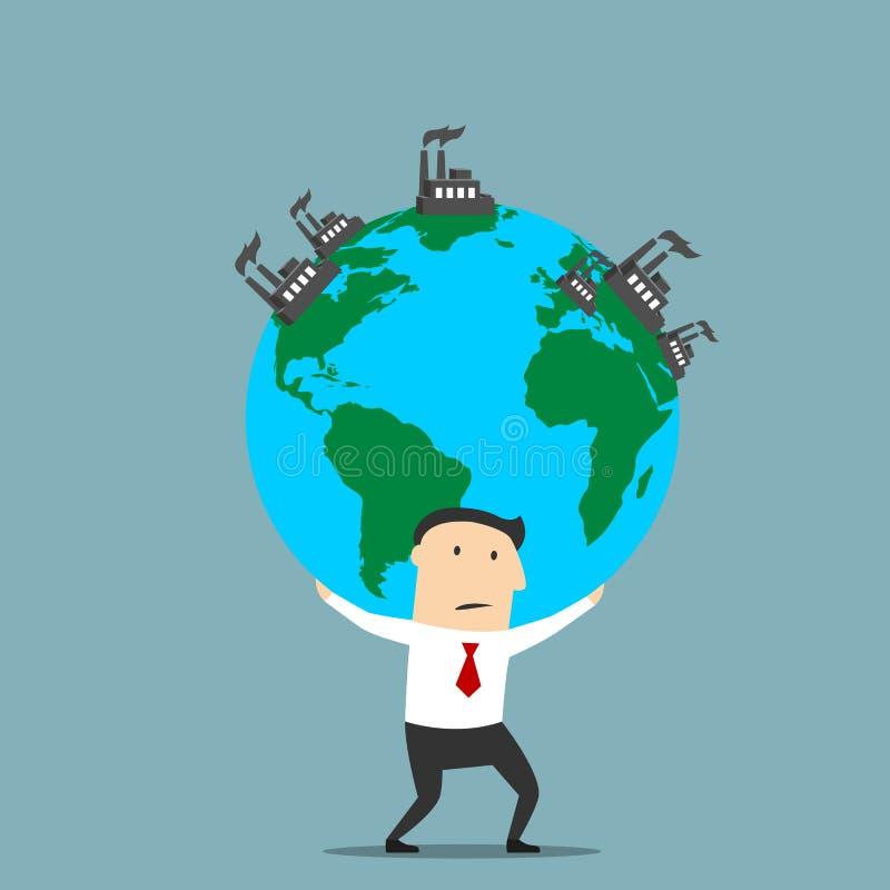 Terra levando do homem de negócios com plantas industriais ilustração stock