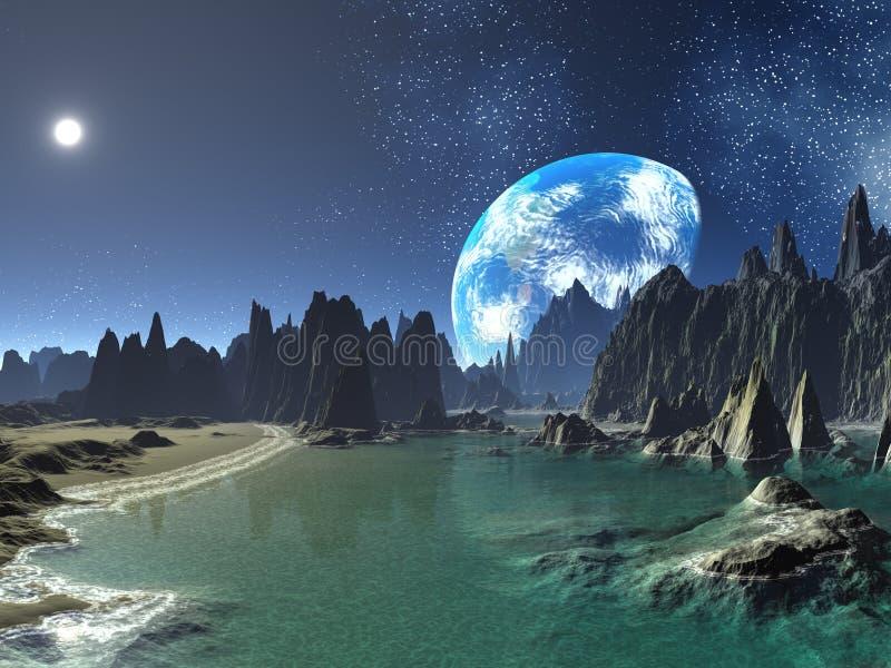 Terra-levante-se das costas estrangeiras ilustração royalty free
