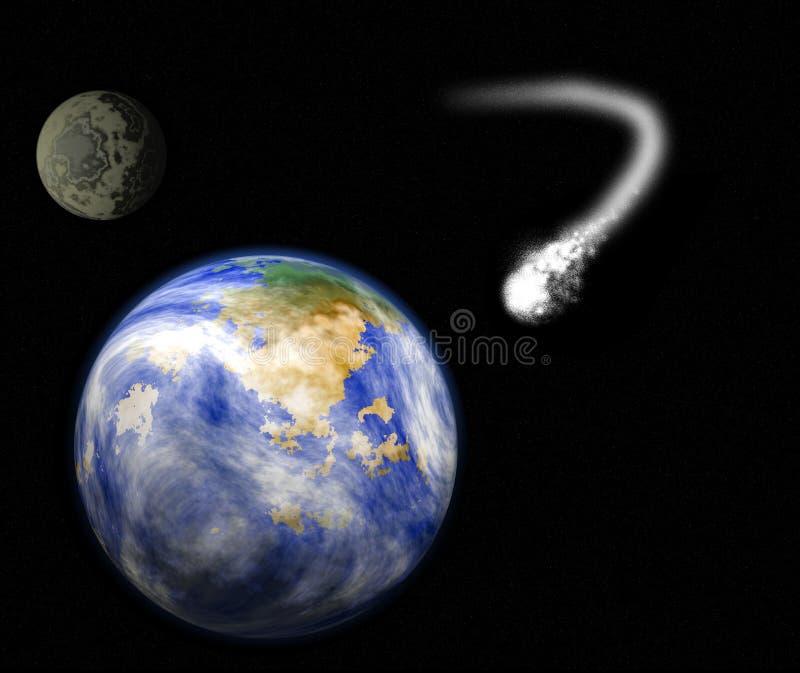 Terra, lua e cometa do planeta ilustração stock