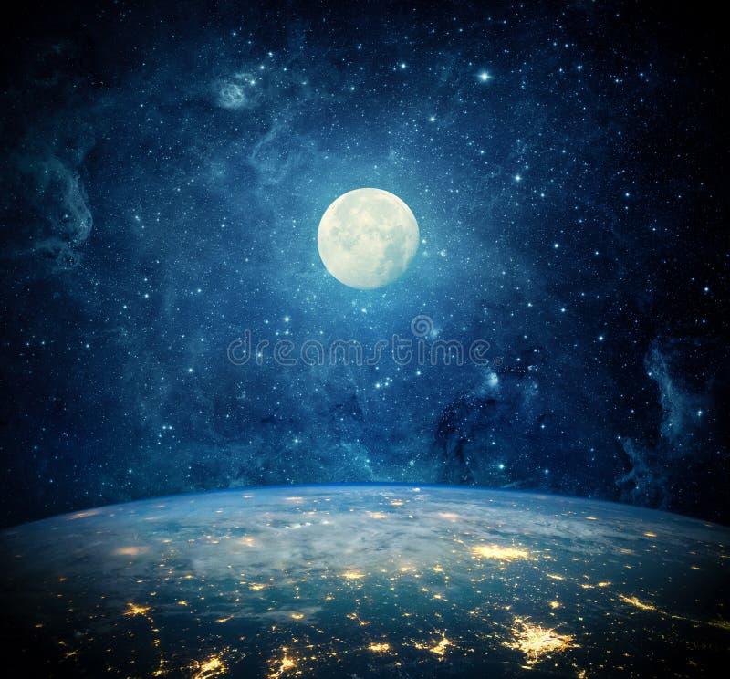 Terra, lua e galáxia Elementos desta imagem fornecidos pela NASA ilustração royalty free