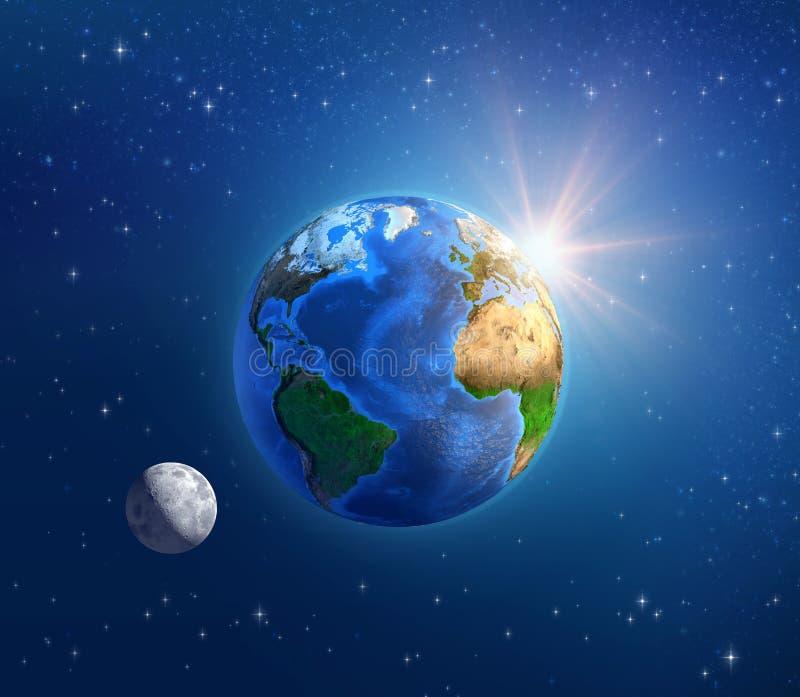 Terra, luar e luz do sol do planeta no espaço profundo ilustração do vetor