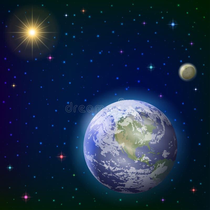 Terra, luna e sole illustrazione di stock