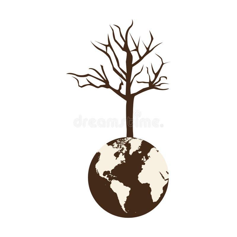 terra marrom do mundo da cor com ramo três sem folhas ilustração stock