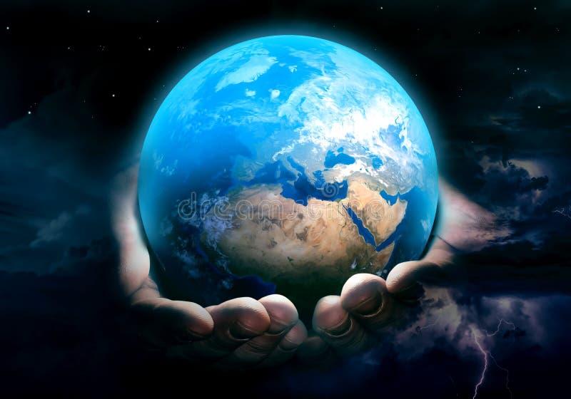 Terra na arte das mãos do deus ilustração royalty free