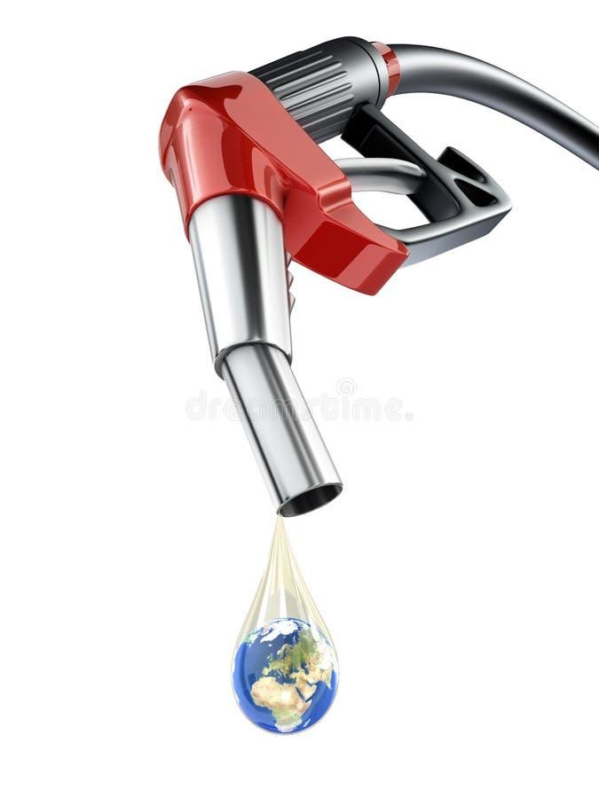 Terra na gota do combustível ilustração royalty free
