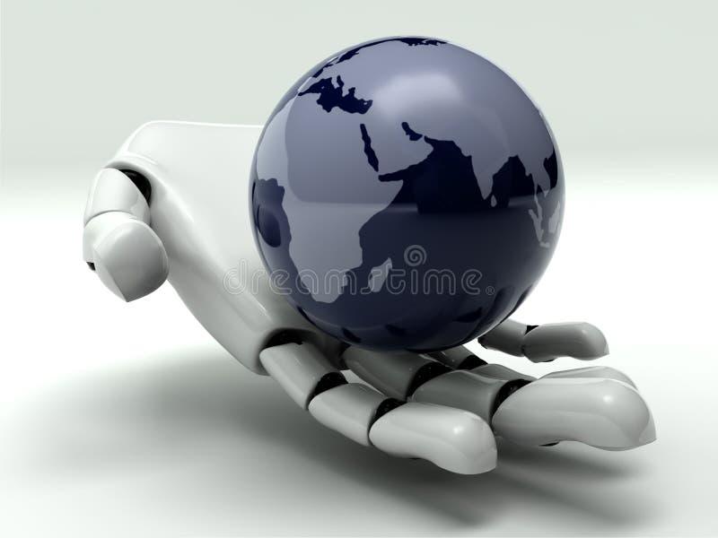 Terra na mão do robô ilustração do vetor