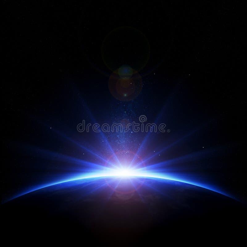 Nascer do sol da terra com raios e alargamento da lente ilustração do vetor