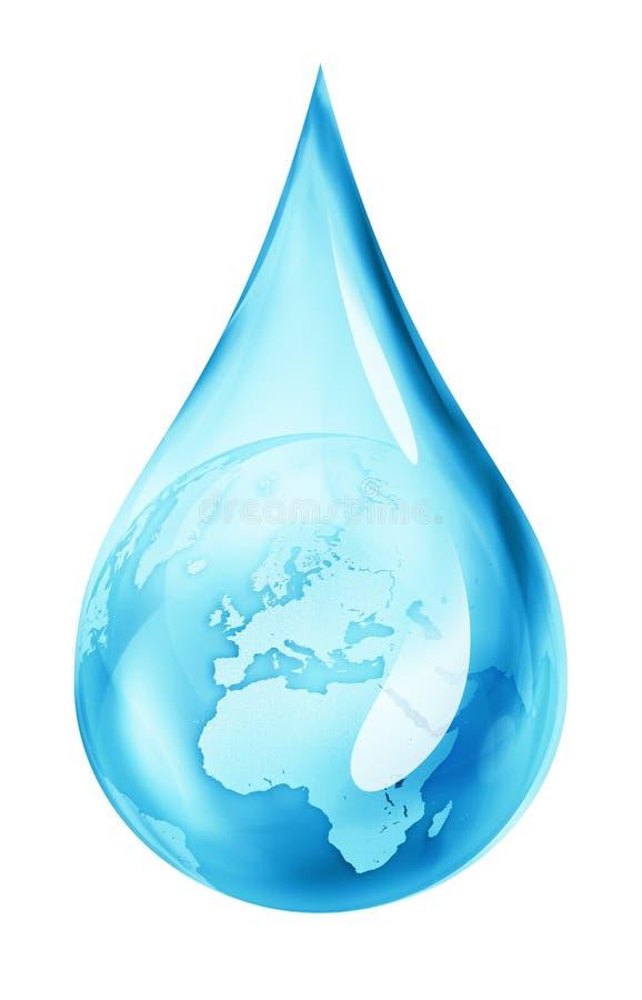 Terra nella goccia di acqua illustrazione vettoriale