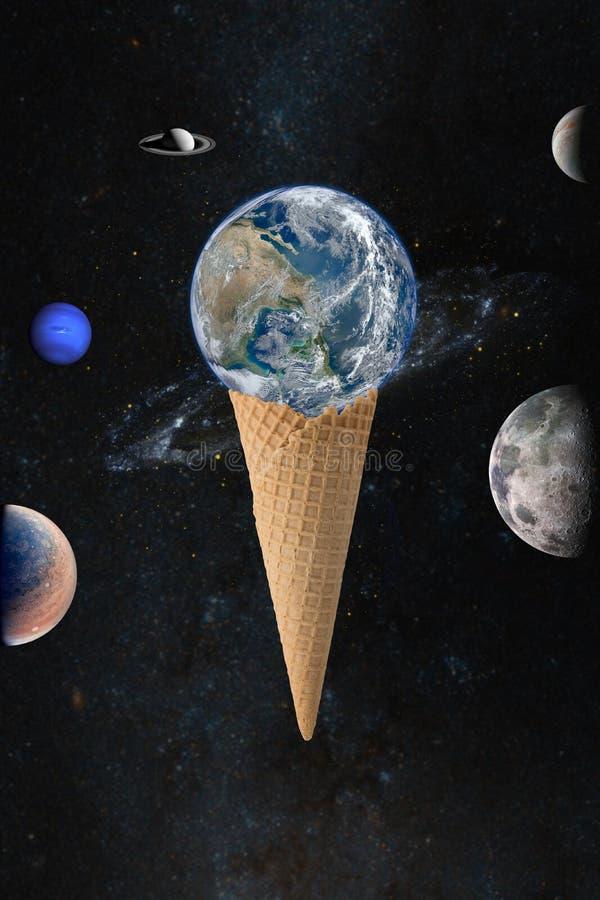 Terra no cone do waffle imagens de stock royalty free