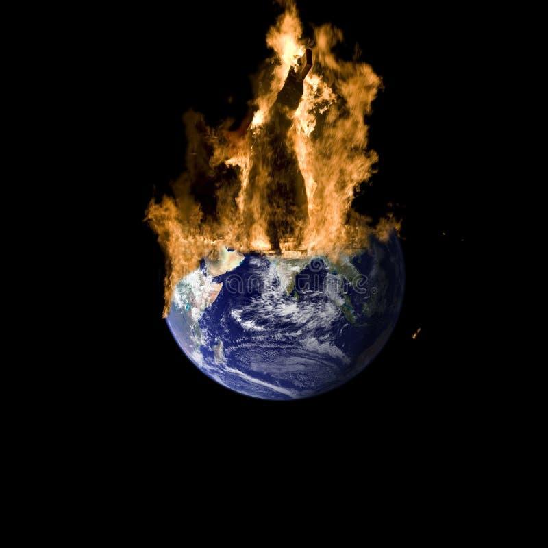 Terra no incêndio fotografia de stock royalty free