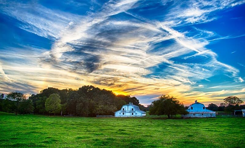 Terra no por do sol em york South Carolina fotografia de stock royalty free