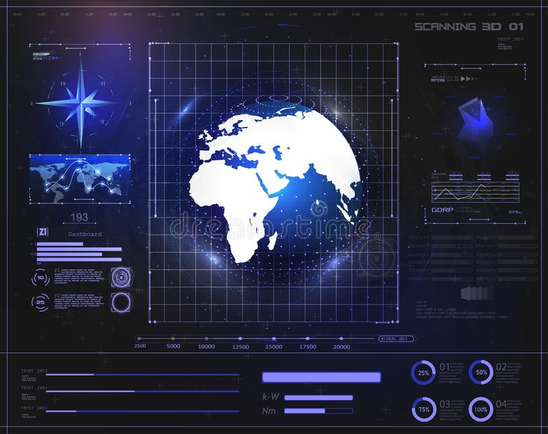 Terra olografica dell'esposizione del fondo di Digital HUD illustrazione vettoriale