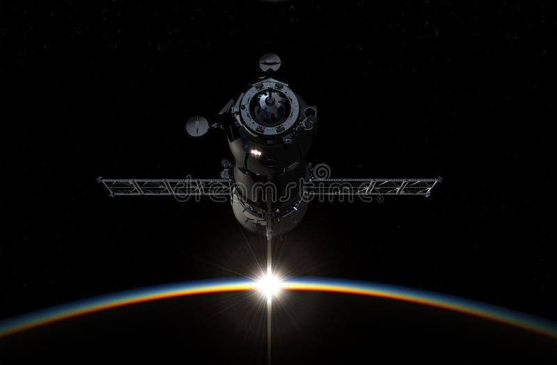 Terra orbitante del veicolo spaziale illustrazione 3D royalty illustrazione gratis
