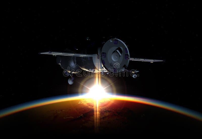 Terra orbitante del veicolo spaziale illustrazione 3D illustrazione di stock