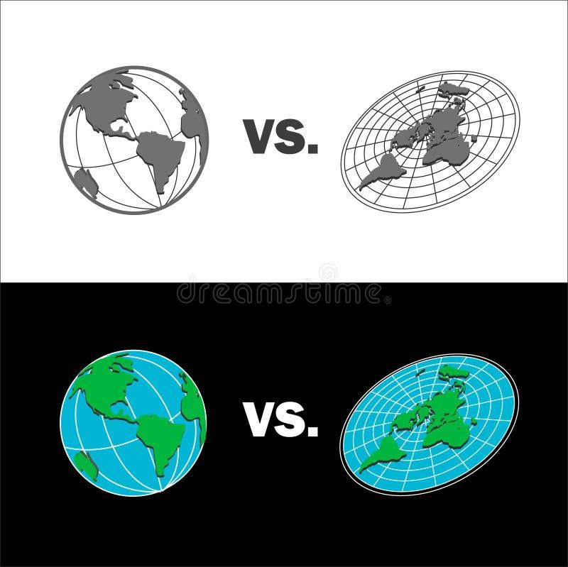 Terra piana contro la mappa della terra della sfera Illustrazione isolata di vettore royalty illustrazione gratis